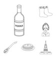 country russia travel outline icons in set vector image vector image