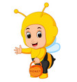 cute boy cartoon wearing bee costume vector image vector image