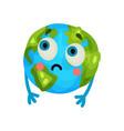 cute cartoon funny earth planet emoji humanized vector image vector image