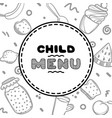 cute hand drawn menu for cafe on food background vector image vector image