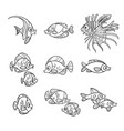 cute sea fishes outlined isolated on a white vector image vector image
