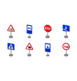 different types of road signs icons in set vector image