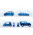 electric vs gasoline cars at station on street set vector image vector image