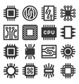 electronic computer chips cpu icons set vector image vector image