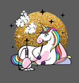 fantasy animal horse unicorn with hookah vector image vector image