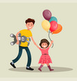 father and daughter having fun together vector image
