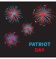 Fireworks on black sky blue text Patriot day vector image vector image