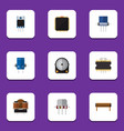 flat icon device set of cpu resist bobbin and vector image vector image