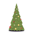 green christmas tree happy new year holiday vector image