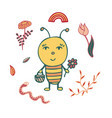 hand-drawn bee the gardener with a basket vector image