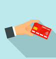 hand red nfc credit card icon flat style vector image