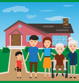 happy family standing outside new home people vector image vector image