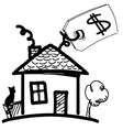 House with sale or price label vector image vector image
