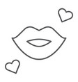 kiss thin line icon romance and love lips sign vector image vector image