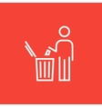 Man throwing garbage in a bin line icon vector image vector image