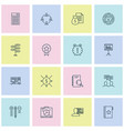 management icons set with team meeting workspace vector image vector image