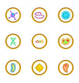 microbe icons set cartoon style vector image vector image