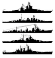 naval warship silhouettes vector image