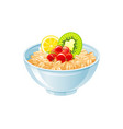 oats bowl sweet oatmeal with berry fruit vector image vector image