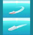 passenger liner transportation sailboats on vector image vector image