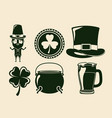 saint patricks day elements set in green color vector image