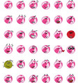 set of pink beach ball character emojis vector image