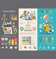 social media infographic work people socializing vector image vector image