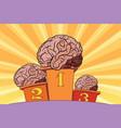 the human brain on sports podium vector image