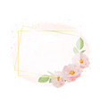 watercolor pink roses with golden wreath frame on vector image vector image