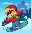 winter scene with girl on snowboard vector image