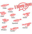 word i love you in different languages vector image vector image