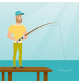 young caucasian man fishing on jetty vector image vector image