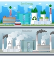 Eco Factory Green Energy and Air Pollution vector image