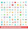 100 health procedure icons set cartoon style vector image vector image