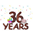 36th birthday party design vector image vector image