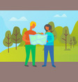 adventure woman and man couple with map atlas vector image vector image