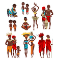 African People Clothing Flat Icons Collection vector image vector image