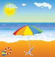 beach beauty with umbrella vector image