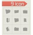 black folder icons set vector image vector image