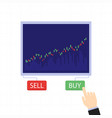 business candlestick chart buy and sell buttons vector image