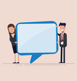 businessman and woman hold speech bubble manager vector image