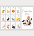 calendar 2020 cute monthly with cats vector image vector image