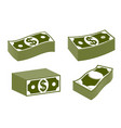 cash money dollar banknote stack simplistic set vector image vector image