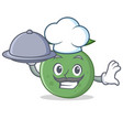chef with food guava mascot cartoon style vector image vector image