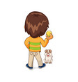 child playing with dog leisure vector image