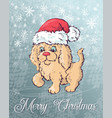 Christmas poster with dog portrait in red santa s