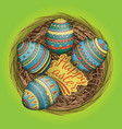 colorful happy easter eggs set in nest vector image vector image