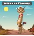 Cool meerkat cowboy in hat in the wild nature vector image