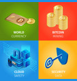 currency bitcoin mining cloud security data vector image vector image