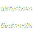 decorative horizontal stripe from eggs with leaves vector image vector image
